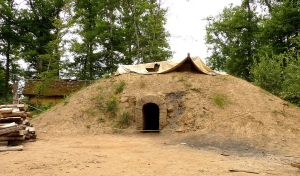 An earthen mound with an entrance