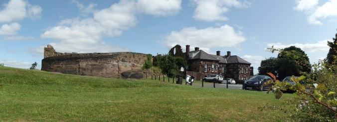 The ruins of Halton Castle with the 1738 courthouse on the right.